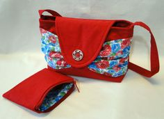 Red Twill Shoulder Purse, Cosmetic Bag, Shoulder Strap Bag, Coin Bag, Rose Print Swag Pockets, Summer Purse by rosemontbags on Etsy
