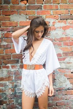 Hit the Beach Flowing White Romper | USTrendy
