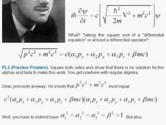 The free-particle Dirac equation is derived. Physics 101, Modern Physics, Quantum Physics, Dirac Equation, Paul Dirac, Science Articles, Deep Truths, Formulas, Astrophysics