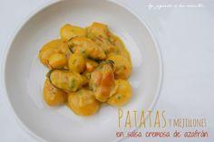 JUGANDO A LAS COCINITAS: Patatas y mejillones en salsa cremosa de azafrán (guarnición)