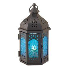 Blue Glass Moroccan Lantern
