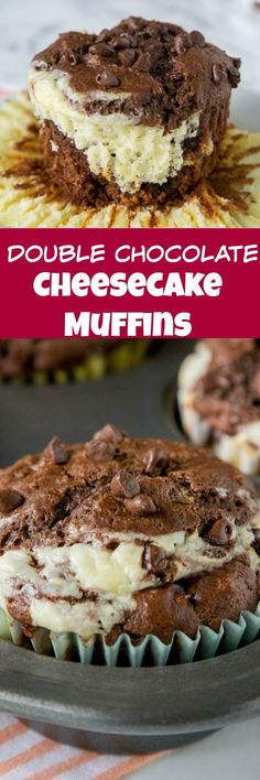 Double Chocolate Cheesecake Muffins - Rich, chocolate cream cheese muffins with a layer of sweetened cream cheese for a light and tender breakfast or even dessert.