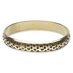 Fancy Carved Cutout 12mm Wide Solid India Brass Bangle Bracelet