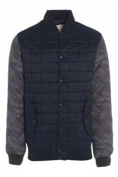 Mens Camo Sleeve Quilted Baseball Jacket £36 http://bit.ly/1eGgDHg  #camo #jacket