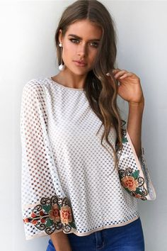 c38dc563956 White Hollow Out Floral Embroidered Cutout Back Flare Sleeve Blouse