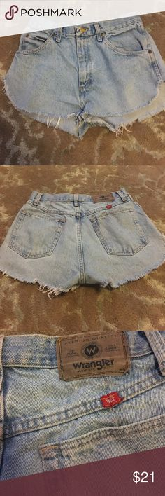 """Vintage Denim Wrangler Cut-Offs Sad to see these go. A pair of high-waisted, dolphin cut cut-offs made from thrifted wrangler jeans. Super flattering! Waist is approximately 26"""". Vintage Shorts Jean Shorts"""