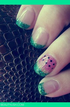 Watermelon Gel Nails | Rebecca S.'s Photo | Beautylish