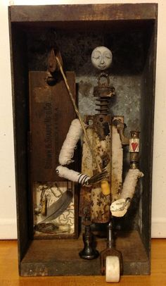 original assemblage art mixed media free standing  by moonbugink, $75.00