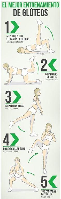 Entrenamiento para glúteos #infografía #fitness