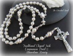 Belle traditionnelle irlandaise catholique première Sainte Communion traditionnelle perle et strass Rosaire classique - élégant-