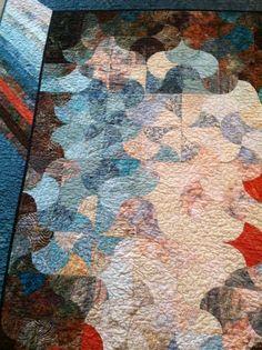 Closeup of blue quilt