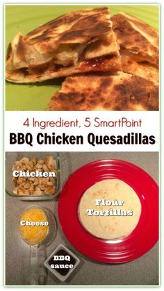 Weight Watcher Friendly Barbecue Chicken Quesadillas. A quick and easy dinner idea that is just 5 SmartPoints per serving.