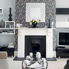 not these colours but idea of wallpapering the fireplace feature wall