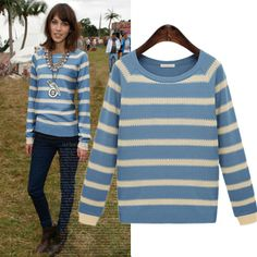 Two Color Matched Stripes Round Collar Knitwear Pullover Sweater