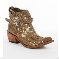 LIBERTY BLACK BOOTIES Gold foil acid wash with double boot ankle straps and zip up side. from the Buckle. Wore once. Amazing fit and feel. Very comfortable. Liberty black Shoes Ankle Boots & Booties