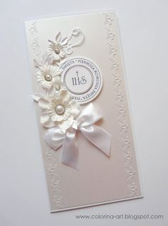 Best 12 Would make a beautiful wedding card. First Communion Cards, Première Communion, First Communion Invitations, First Holy Communion, Wedding Invitation Cards, Wedding Cards, Sorry Cards, Engagement Cards, Paper Gifts