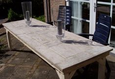 Lange tafel van steigerhout