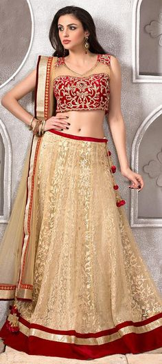 155632: BRIDAL WEAR - our bride is fierce -   Order this #Lehenga at flat 10% off + extra in #ValentinesDay offer.   #beige #bridalwear #weddingcouture #sale #onlineshopping #indianfashion #velvet #Patchwork