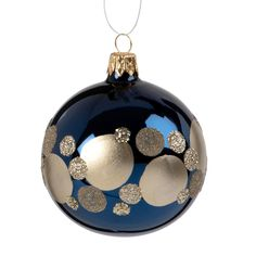 Blue Tinted Glass Christmas Bauble with Gold Polka Dots Blue Tinted Glass Christmas Bauble with Gold Polka Dots Festive decor, Christmas tree decor, hanging Christmas decoration. Glass Christmas Baubles, Painted Christmas Ornaments, Blue Christmas, Christmas Balls, Christmas Tree Decorations, Christmas Crafts, Xmas, Diy Artwork, Gold Diy