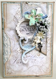 my Pastel Euphoria: LOTV sentiment card with Maja Design papers and Tim Holtz elements