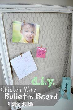 DIY Chicken Wire Bulletin Board DIY Home Decor Crafts
