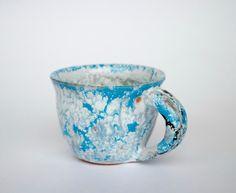 Handmade ceramic coffee, tea cup one piece, blue green ceramic cup, ceramic cup by PotterAsh on Etsy
