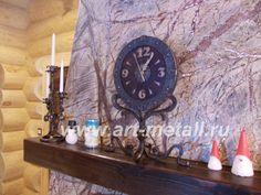 Кованые настольные часы. Кованый металл, дуб. 16000 руб.Каминные часы.