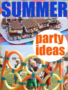 Summer Party Ideas.  Plan your outdoor party with these fun ideas for games and food.  Great for a birthday party or backyard BBQ.