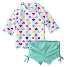 Circo® Infant Toddler Girls' Heart Rashguard and Bottom Set