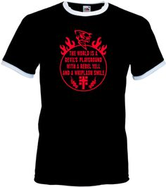 COOLES THE WORLD IS A DEVILS PLAYGROUND T-SHIRT FOR BIKER, LOWRIDER, ROCKER...