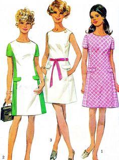 1960s Dress Pattern Simplicity 8083 Mod Princess Seam Color Block Dress Mini Dress Vintage Sewing Pattern Bust 34