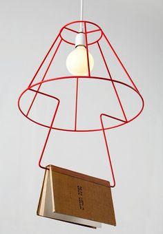 Book light - built in book mark!, Put it on a pulley-- so you pull it down to read, and it rolls up and away like a roller shade...