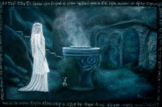 """Galadriel`s mirror  40 x 60 cm  Acrylic on canvas   For this painting I was inspired with Peter Jackson`s adaptation of the """"Lord of The Rings"""" , amazing three-volume book originally written by my favourite writer,amazing John Ronald Reuel Tolkien.  http://aelinlaer.wix.com/aelin-laer-art  https://www.facebook.com/pages/Aelin-Laer-Fine-Art-Craft/176104605754227?fref=ts"""