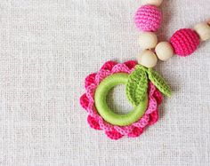 Items similar to Crochet Teething Nursing Babywearing Sling necklace for breastfeeding Mommy Flower - pink lime - cotton yarn wood beads on Etsy Teething Necklace For Mom, Teething Beads, Nursing Necklace, Unique Crochet, Cute Crochet, Crochet Toys, Crochet Baby, Breastfeeding Necklace, I Love Girls