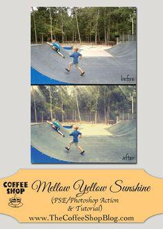 The CoffeeShop Blog: CoffeeShop Mellow Yellow Sunshine PSE/Photoshop Action!