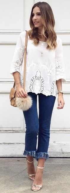 #summer #trending #outfits |  White Lace Blouse + Frayed Denim Pants