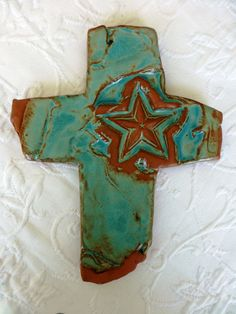 Texas Star Cross #crosses #handmadecrosses #rusticcrosses #pottery SOLD