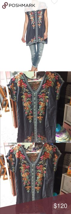 Johnny Was Sheer Embroidered Tunic Size XS. Johnny Was Sheer Embroidered Tunic Size XS. Color: Grey. Fits true to size. Hardly worn and in great condition! Johnny Was Tops Tunics