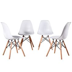 f07b1d92d358 Artwell Eames Style Chairs Mid Century Modern Dining Chair Side Chair ABS  Plastic Armless Chair With Beech Wood Legs Easy Assemble for Dining Room  Living ...
