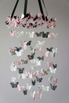 Damask Nursery Mobile Pink Black & White - i may need to make one to match the bedding. Damask Nursery, Girl Nursery, Girl Room, White Nursery, Paper Mobile, Diy And Crafts, Paper Crafts, Butterfly Mobile, Ideias Diy