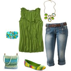 Denim capris (or shorts)...paired with lime green top...add in cute accent jewelry  shoes, and it's a great summer time outfit....