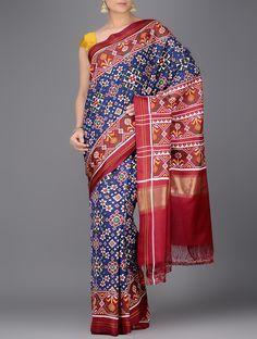 Blue Red Double Ikat Patan Patola Silk Saree with Zari Border : Pinned by Sujayita Indian Gowns Dresses, Saree Trends, Indian Fabric, Elegant Saree, Traditional Sarees, Saree Styles, Red Silk, Beautiful Saree, Indian Fashion