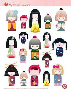 MY SWEET KOKESHI - cute original Japanese Kokeshi Doll graphics - Digital collage sheet 127