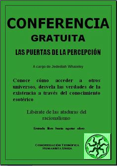"""Panfleto de una charla de la Congregación Teosófica Humanista, de la novela de humor y terror Lovecraftiano """"Imposible pero incierto (una novela de horror có[s]mico)."""