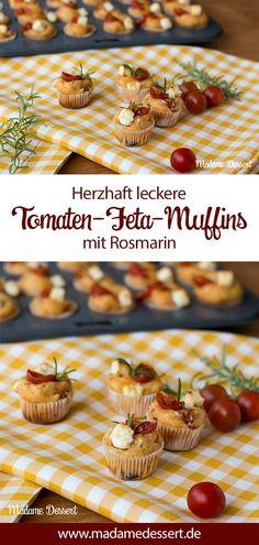 Herzhaft leckere Tomaten Feta Muffins mit Rosmarin. Tomaten-Feta-Muffins mit frischen Rosmarinzweigen schmecken in klein, groß und mittel. Der würzige Feta und die sonnengereiften Tomaten bringen den vollen Geschmack des Mittelmeers auf deine Tafel oder zum Picknick im Grünen.
