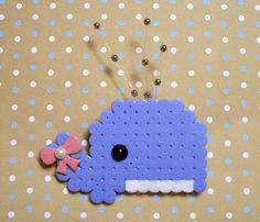 a whale of a tale brooch by aselfportrait Diy Projects To Try, Projects For Kids, Diy For Kids, Craft Projects, Pearler Beads, Fuse Beads, Pony Bead Projects, Hamma Beads Ideas, Unicorn Cross Stitch Pattern