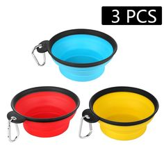 Set of 3 Large Portable Travel Dog Bowl, Aigou® 6 Inch Diameter for Medium to Large Dogs, Lightweight Collapsible Pet Dog Cat Bowl Travel Bowl Water Feeder Bowl with Carabiner (Blue and Red and Yellow) * Awesome dog product. Click the image : Feeding and Watering Supplies