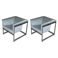 Pair of Milo Baughman Cube Chairs | From a unique collection of antique and modern lounge chairs at https://www.1stdibs.com/furniture/seating/lounge-chairs/