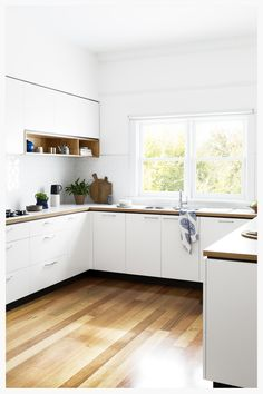 Cantilever kitchen 1, an affordable Australian kitchen|cantileverinteriors.com Kitchen Cupboards, Kitchen Reno, Wood Floor Kitchen, Wall Cabinets, Kitchen Benchtops, White Cupboards, Plywood Kitchen, Timber Kitchen, Kitchen Remodeling