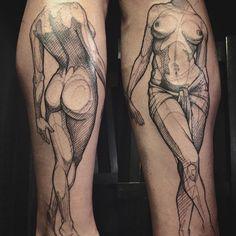 "@loiseautattoo: ""#nude #sketchtattoo #graphictattoo #blacktattoo #faubourgtattooclub #loiseautattoo"""